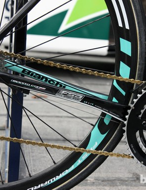 The new Bianchi Infinito uses dramatically flattened chain stays