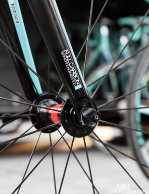 Aluminum fork tips on Bianchi's new Infinito