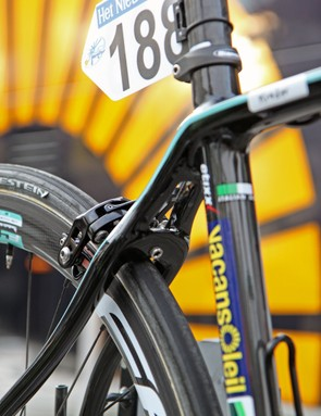 Unique seat stay shaping on Bianchi's new Infinito