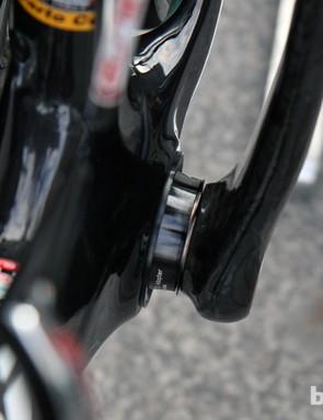 Vacansoleil-DCM team mechanics use spacers to adapt the FSA BB386 EVO crankset to the Bianchi Infinito's PF30 bottom bracket shell