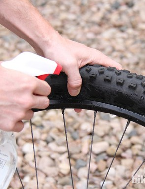 Soapy water will allow tyres to seat with less effort