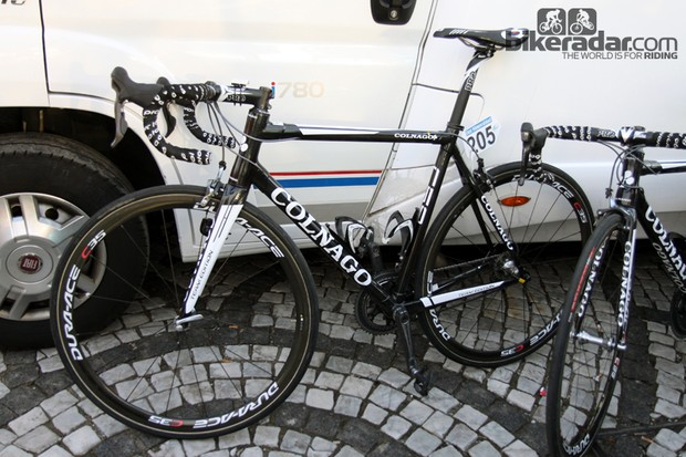 Crelan-Euphony's Colnago C59s take a final rest before getting throttled up the cobbled climbs of Ronde van Vlaanderen