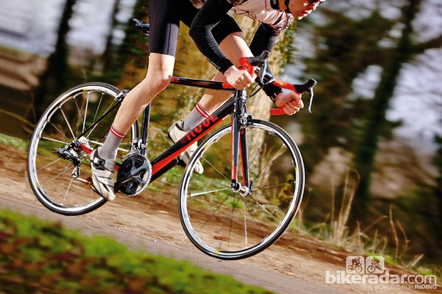 A stiff frame and long, low position make for a racy ride
