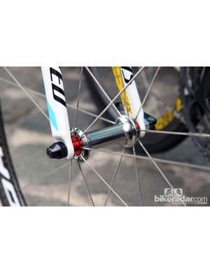 The unique racing lacing setup for Astana's Corima Aero+ front wheel