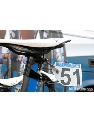 Blanco team mechanics got creative with the number plate mounting on Theo Bos's Giant Propel Advanced SL