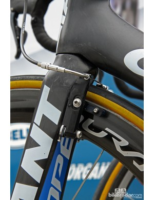 Blanco uses custom made aluminum linear-pull brakes on its Giant Propel Advanced SL rigs instead of the molded carbon fiber ones found on production bikes. The more precise noodle socket, stronger return springs, and seemingly tighter tolerances lend a much improved feel at the lever