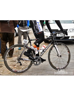 Crelan-Euphony's Colnago C59 Team Edition sets off for the start line at Scheldeprijs