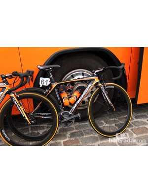 Euskaltel-Euskadi's Orbea Orca in the team's trademark black-and-orange livery at Scheldeprijs