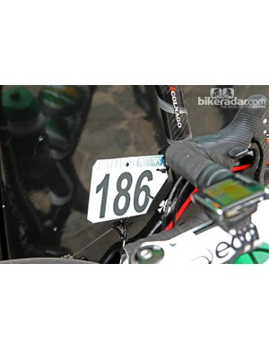 Europcar team mechanics used the rear brake housing stop to mount the number plate
