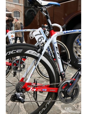 Slim seat stays and big chain stays on FDJ's Lapierre Xelius at Scheldeprijs