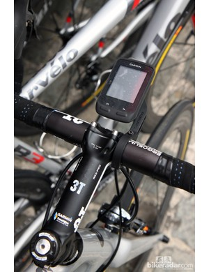 Not surprisingly, Garmin-Sharp team bikes are equipped with Garmin's latest Edge 510 computers and Out-front handlebar mount