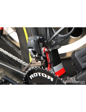 Garmin-Sharp team bikes are fitted with Rotor chain catchers