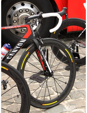 Katusha's hope for Paris-Roubaix, Alexander Kristoff, used a Mavic Cosmic Carbone SLR wheel up front at Scheldeprijs
