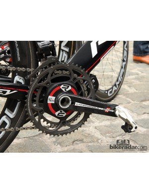 An SRM power meter with made-for-SRM Campagnolo carbon fiber arms for Lotto Belisol's Kenny Dehaes