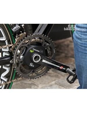 SRM supplies teams with custom decals for its power meters to match the rest of the bike