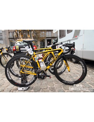 Trek is once again using a black-and-yellow color scheme on its Madone but this time it's for the new MTN-Qhubeka team