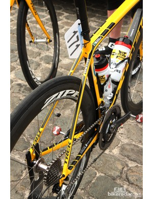 The chain stay-mounted rear brake on MTB-Qhubeka's Trek Madone 7-Series leaves the seat stays looking unusually uncluttered