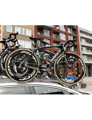A Specialized S-Works Venge rides atop the Omega Pharma-QuickStep team car at Scheldeprijs