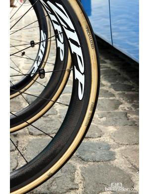 25mm-wide FMB Paris-Roubaix tubular tires for the Saxo-Tinkoff team at Scheldeprijs