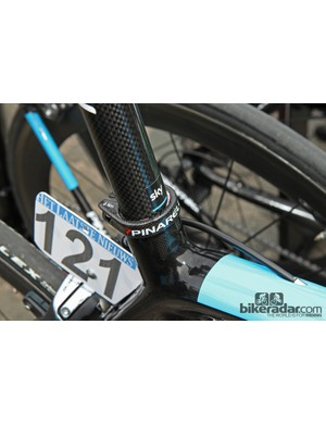 A small Sky sticker marks the seatpost height on Bernhard Eisel's Pinarello Dogma K while friction paste helps ensure it stays there