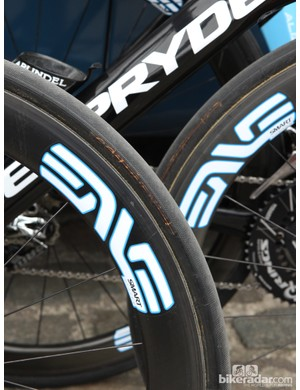 Continental stamps were blacked out on UnitedHealthcare team bikes, which were also the only machines in the peloton to use Enve carbon rims