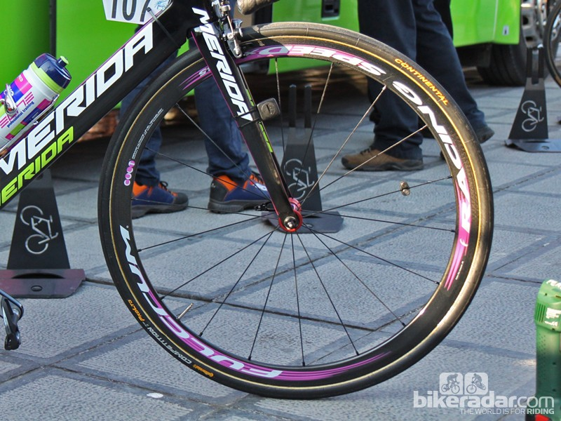 Lampre-Merida rider Filippo Pozzato previewed Fulcrum's new Racing Speed XLR 35 wheels at the Tour of Flanders