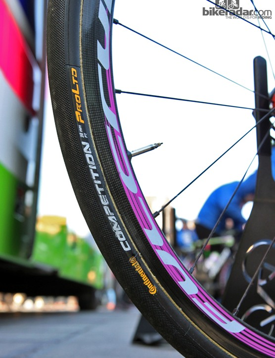 The rim cross-section looks fairly traditional on Fulcrum's new Racing Speed XLR 35 as seen here on the bike of Lampre-Merida rider Filippo Pozzato.