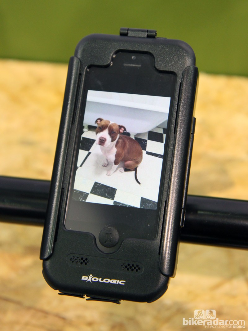 BioLogic's new waterproof bike mount for the iPhone 5. The phone can still be operated through through the transparent front film