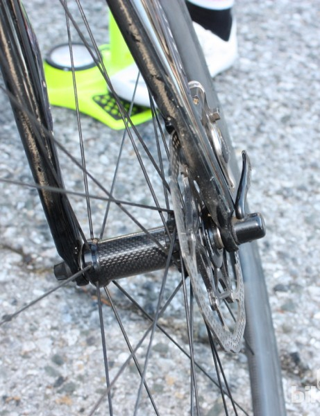 While the current Roubaix Disc with mechanical brakes uses DT Axis 4.0 wheels, look for Specialized's Roval brand to pop up soon with road discs