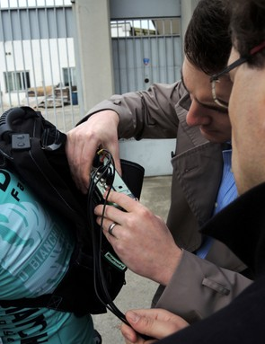 Vibration sensors were mounted at various places on a bike, with the data pack stashed on the rider