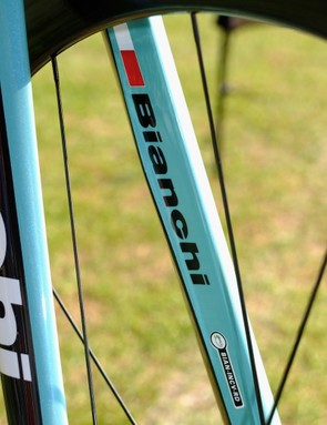 UCI approval label on the inner fork leg, plus subtle curves on the trailing edge