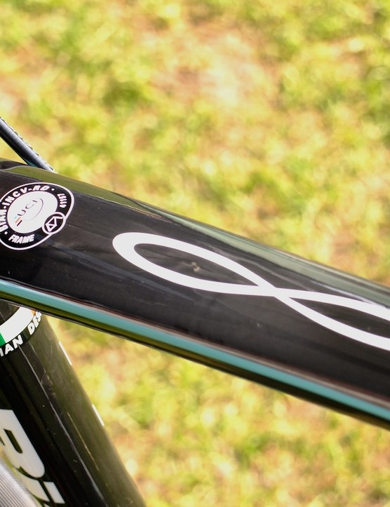 The frame's UCI approval mark, and large infinity symbol, which could prove popular in the Chinese market