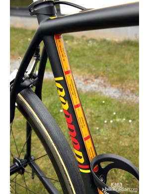 Naturally, Specialized chose the colors of the Belgian flag for Tom Boonen's (Omega Pharma-QuickStep) custom S-Works Roubaix SL4