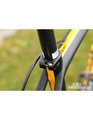 A little team decal marks the saddle height while a coating of friction paste aims to keep it there