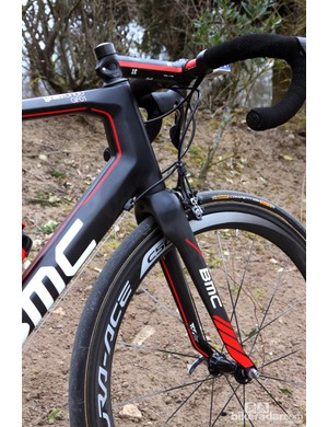 The head tube area on the BMC GranFondo GF01 is massive but the fork's distinctive kinks and bends are meant to flex on rough surfaces