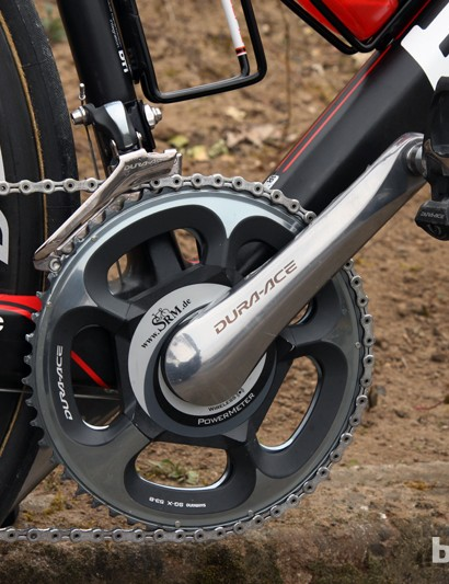 A 175mm-long SRM Dura-Ace 7900-compatible power meter and 53/45T chainrings for Taylor Phinney (BMC)