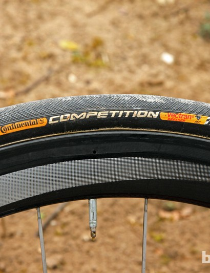28mm-wide Continental Competition tubular tires front and rear for Taylor Phinney (BMC)