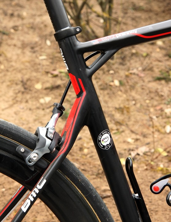 The offset seat cluster and curious kinks and bends are all designed to help this area flex under load on the BMC GranFondo GF01