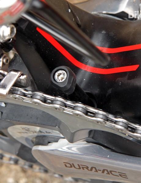 BMC integrates a sturdy-looking chain catcher into the bottom bracket shell on the GranFondo GF01