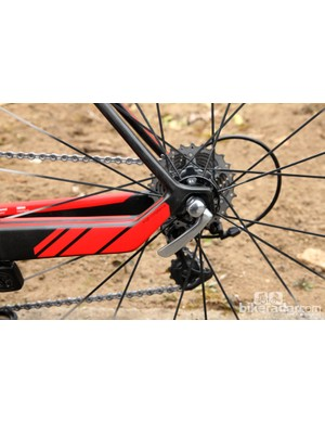 BMC claims that the radical kink just ahead of the carbon dropouts acts as a sort of pivot when hitting big bumps