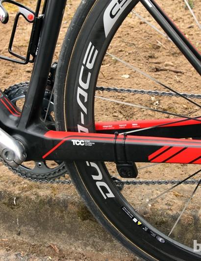 Chain stays are enormous on the BMC GranFondo GF01