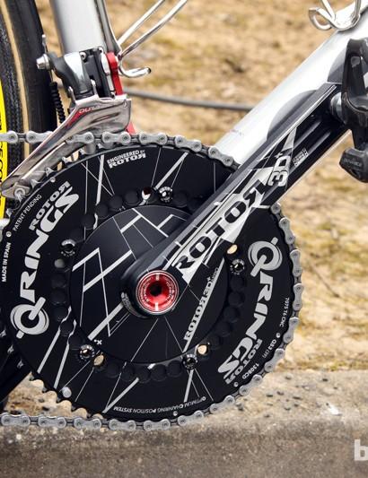 Between the solid 'Aero' spider and solid 'Aero' Q-Rings, Johan Vansummeren's (Garmin-Sharp) 180mm-long Rotor 3D+ crankset is looking mighty... solid