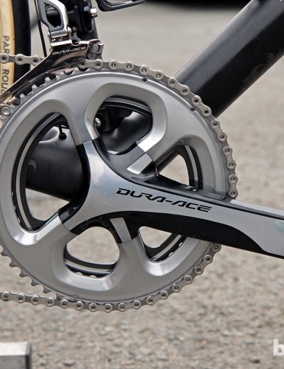 Radioshack-Leopard-Trek team mechanic Roger Theel told BikeRadar that this 53-tooth outer chainring had only arrived days before Paris-Roubaix. While it has the same number of teeth as Fabian Cancellara's normal outer ring, the ramping is specific for a 42T instead of a 39T