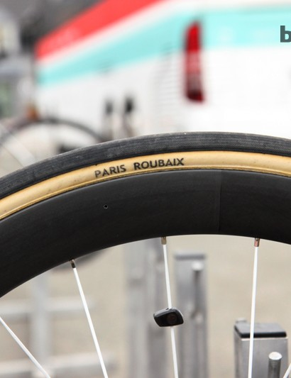 Fabian Cancellara (Radioshack-Leopard-Trek) has moved from 25mm-wide FMB Paris-Roubaix tubulars to 27mm-wide ones for Paris-Roubaix