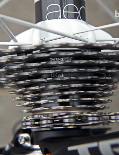 An 11-25T Shimano Dura-Ace 9000 cassette for Fabian Cancellara (Radioshack-Leopard-Trek) at Paris-Roubaix