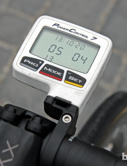 Fabian Cancellara's (Radioshack-Leopard-Trek) SRM PowerControl 7 computer is affixed to the company's new locking mount