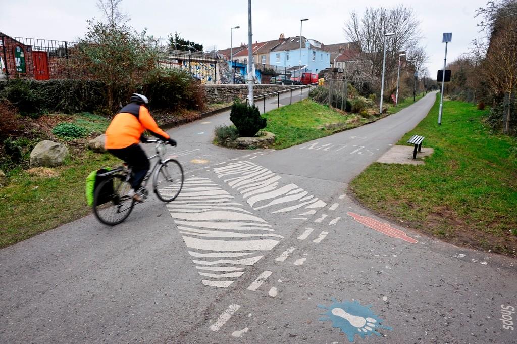 A commuter on the Bath to Bristol bike path