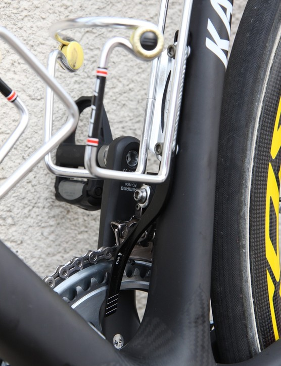 Canyon's own chain catcher securely attaches to the water bottle bosses on the seat tube, making it unlikely to give way when it's actually needed