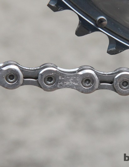 If you were looking for justification for using a Shimano Ultegra chain instead of a Dura-Ace one, here you go. If it's good enough to be raced at Paris-Roubaix…