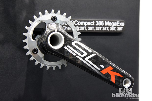 FSA has added 1x-compatible chainring options for the SL-K Compact 386 MegaEvo crankset. Available sizes range from 28-38T